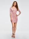 Платье трикотажное облегающее oodji #SECTION_NAME# (розовый), 14001121-3B/16300/4B12A - вид 2