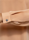 Блузка прямого силуэта с отложным воротником oodji #SECTION_NAME# (бежевый), 11411181/43414/3529B - вид 5