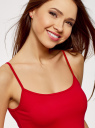 Топ трикотажный на тонких бретелях oodji для женщины (красный), 14305023-4B/45297/4500N