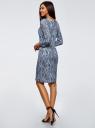 Платье трикотажное с вырезом-капелькой на спине oodji для женщины (синий), 24001070-9B/15640/7412E
