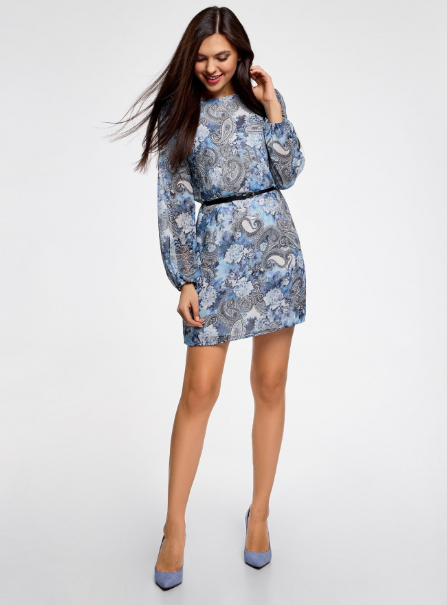 Платье из шифона с ремнем oodji для женщины (синий), 11900150-5M/13632/1270E