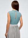 Топ базовый из струящейся ткани oodji для женщины (бирюзовый), 14911006B/43414/7302N