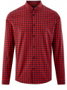 Рубашка хлопковая в клетку oodji #SECTION_NAME# (красный), 3L310168M/48837N/4529C