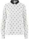 Блузка прямого силуэта с отложным воротником oodji #SECTION_NAME# (белый), 11411181/43414/3029U