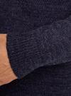 Пуловер фактурной вязки с отложным воротником oodji #SECTION_NAME# (синий), 4L210006M/25700N/7900M - вид 5