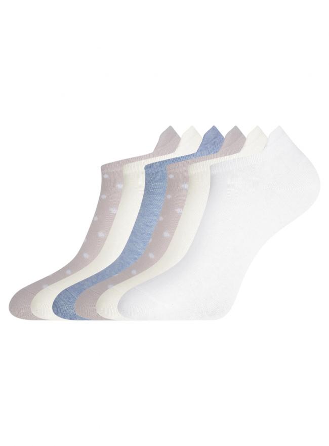 Комплект укороченных носков (6 пар) oodji для женщины (разноцветный), 57102606-1T6/49129/4