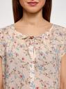 Блузка свободного силуэта с бантом oodji #SECTION_NAME# (розовый), 11411154-1B/24681/5475F - вид 4