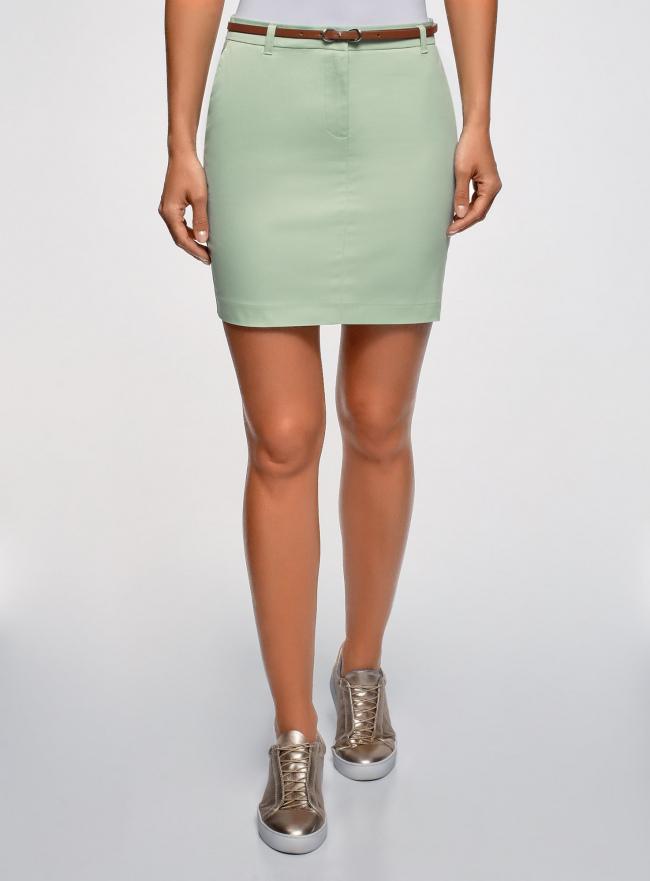 Юбка хлопковая с ремнем oodji для женщины (зеленый), 11600397-2B/32887/6500N