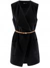 Жилет из плотной ткани с карманами oodji #SECTION_NAME# (черный), 12304002/45749/2900N