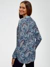 Блузка удлиненная с этническим орнаментом oodji для женщины (бирюзовый), 21405135/45192/7370E - вид 3