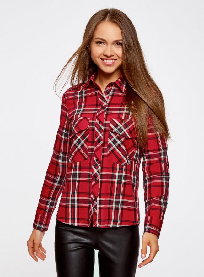 Рубашка в клетку с нагрудными карманами oodji #SECTION_NAME# (красный), 11411052-2/45624/4579C