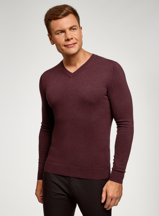 Пуловер базовый с V-образным вырезом oodji для мужчины (красный), 4B212007M-1/34390N/4900M