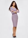 Платье облегающее с вырезом-лодочкой oodji #SECTION_NAME# (фиолетовый), 14017001-6B/47420/8000N - вид 6