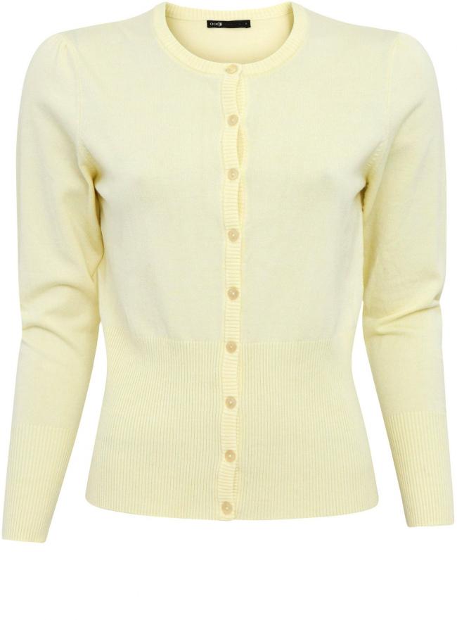 Трикотажный жакет oodji для женщины (желтый), 63212506/45461/5000N