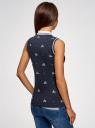 Топ из ткани пике с вышивкой oodji для женщины (синий), 19305001-1/46149/7910O