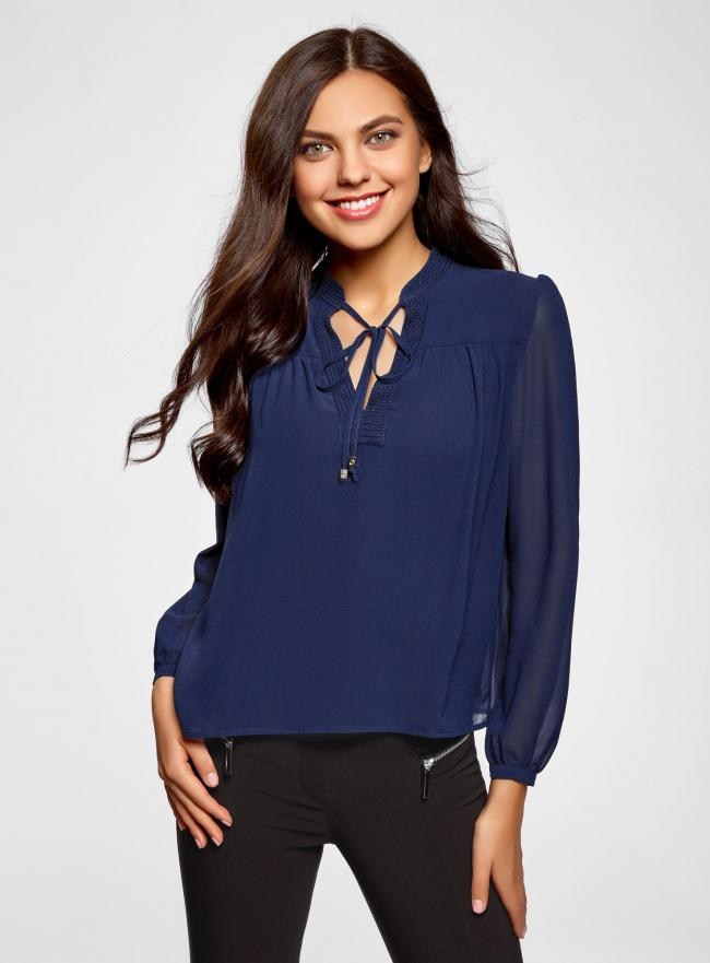 Блузка из шифона свободного силуэта с завязками oodji #SECTION_NAME# (синий), 21400402/17358/7500N