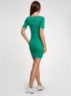 Платье прилегающего силуэта в рубчик oodji #SECTION_NAME# (зеленый), 14011012/45210/6E00N - вид 3