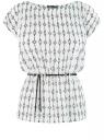 Блузка принтованная из вискозы oodji #SECTION_NAME# (белый), 11400345-1/24681/1229E