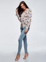 Блузка прямого силуэта с V-образным вырезом oodji #SECTION_NAME# (белый), 21400394-3M/24681/1219E - вид 6