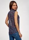 Топ из струящейся ткани с рубашечным воротником oodji для женщины (синий), 14903001B/42816/7945F - вид 3