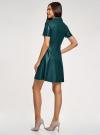 Платье из искусственной кожи с короткими рукавами с молнией на груди oodji #SECTION_NAME# (зеленый), 18L02002/45902/6C00N - вид 3