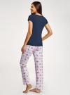 Пижама хлопковая с брюками oodji для женщины (синий), 56002074-1/46158/7941P - вид 3