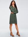Платье вискозное на кулиске oodji #SECTION_NAME# (зеленый), 11911031/26346/6E57E - вид 6