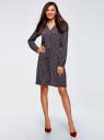 Платье вискозное на кулиске oodji #SECTION_NAME# (синий), 11911031/26346/7945E - вид 2