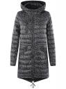 Куртка удлиненная с асимметричным низом oodji #SECTION_NAME# (черный), 10203056-2B/42257/2910G