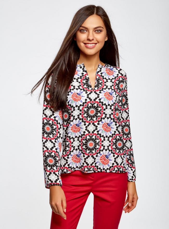 Блузка из шифона принтованная oodji #SECTION_NAME# (разноцветный), 11411056M/33109/1229G