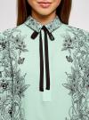 Блузка свободного силуэта с завязками oodji #SECTION_NAME# (бирюзовый), 21411094-1/36215/6529F - вид 4