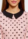 Блузка из струящейся ткани с контрастным воротником oodji #SECTION_NAME# (розовый), 11411117/36005/5429Q - вид 4