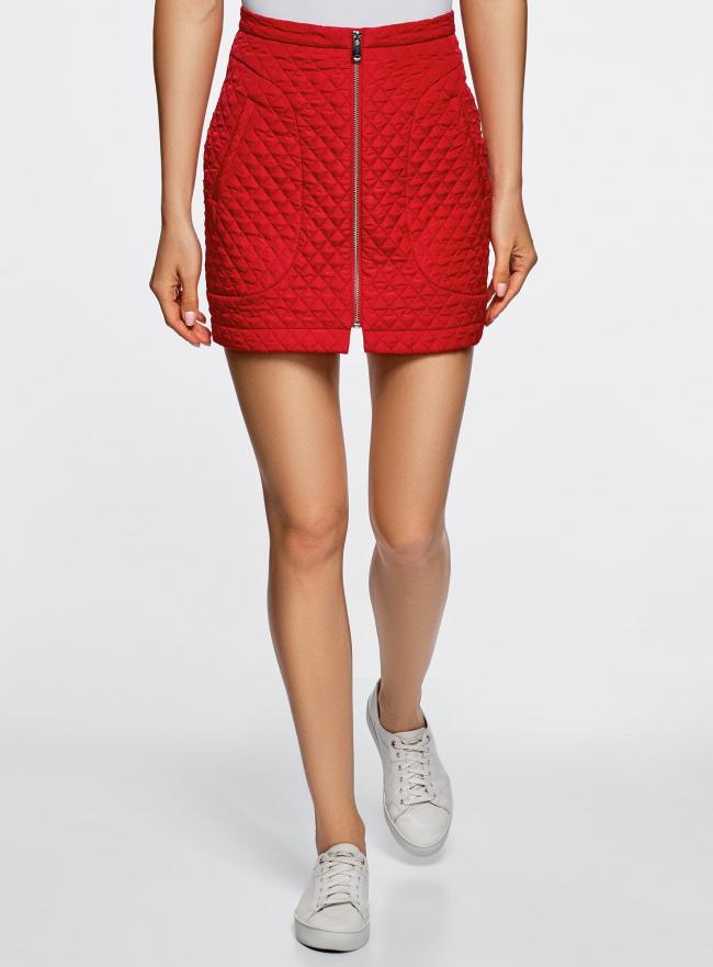 Юбка из фактурной ткани с молнией спереди oodji #SECTION_NAME# (красный), 11600410/38325/4501N