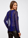 Блузка из струящейся ткани с контрастной отделкой oodji #SECTION_NAME# (синий), 11411059-2/38375/7829A - вид 3