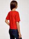 Свитшот из фактурной ткани с коротким рукавом oodji #SECTION_NAME# (красный), 24801010-11/46432/4500N - вид 3