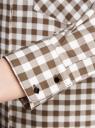 Рубашка свободного силуэта с регулировкой длины рукава oodji #SECTION_NAME# (коричневый), 11411099-1/43566/6812C - вид 5
