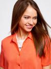 Блузка вискозная с короткими рукавами oodji #SECTION_NAME# (оранжевый), 11411137B/14897/5500N - вид 4