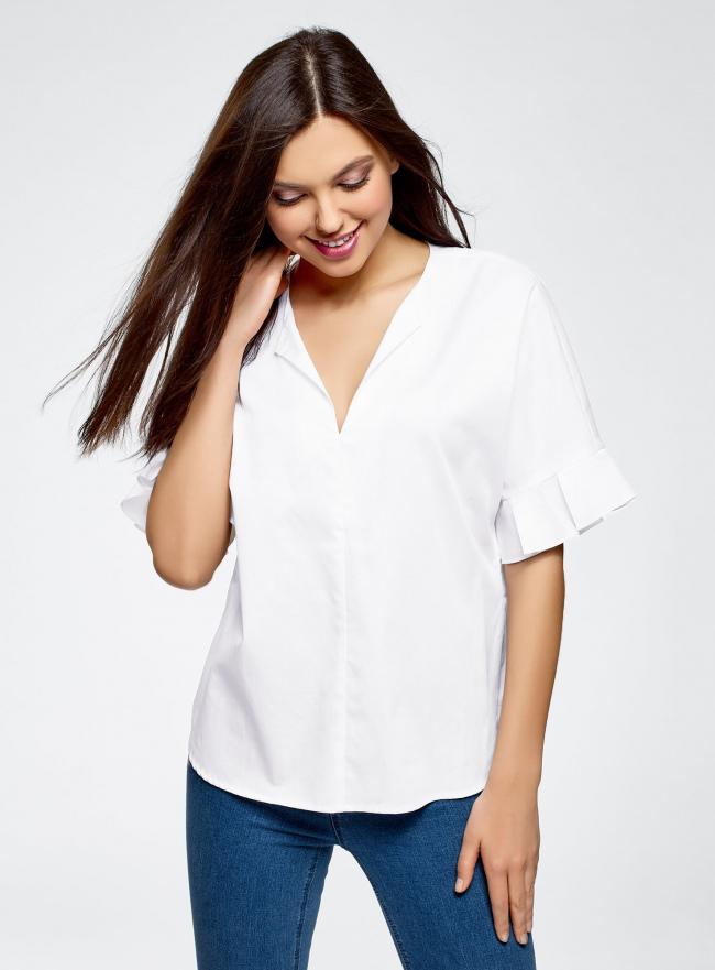 Рубашка хлопковая с V-образным вырезом oodji #SECTION_NAME# (белый), 13K05001/33113/1000N