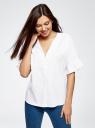 Рубашка хлопковая с V-образным вырезом oodji #SECTION_NAME# (белый), 13K05001/33113/1000N - вид 2