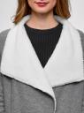 Кардиган на искусственном меху с запахом oodji для женщины (серый), 19207001/18586/2312B