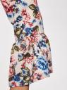 Платье прямого силуэта с воланами на манжетах oodji для женщины (разноцветный), 12C11005/42526/1270F