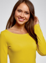 Платье трикотажное облегающего силуэта oodji #SECTION_NAME# (желтый), 14001183B/46148/6700N - вид 4