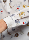 Блузка вискозная прямого силуэта oodji #SECTION_NAME# (слоновая кость), 21400394-1B/24681/3074O - вид 5