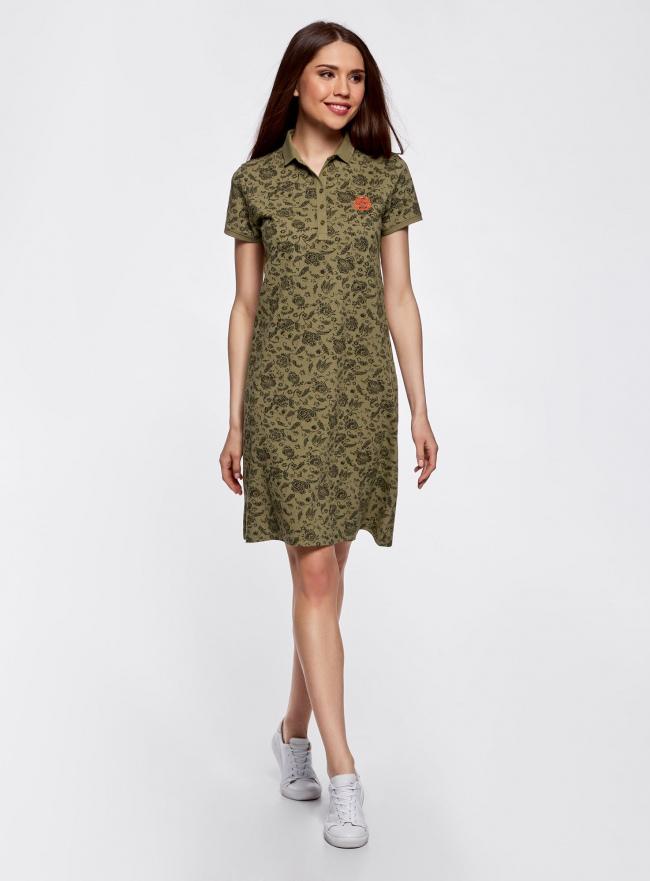 Платье-поло из ткани пике oodji #SECTION_NAME# (зеленый), 24001118-2/47005/6668E