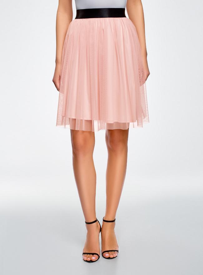 Юбка из сетки на мягком поясе oodji для женщины (розовый), 14100082/24205/4000N