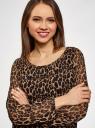 Блузка принтованная свободного силуэта oodji для женщины (коричневый), 21400393/35202/3729A