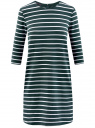 Платье трикотажное в полоску oodji #SECTION_NAME# (зеленый), 14001162-1/43603/6930S