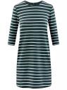 Платье трикотажное в полоску oodji для женщины (зеленый), 14001162-1/43603/6930S