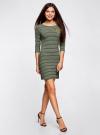 Платье трикотажное в полоску oodji #SECTION_NAME# (зеленый), 14001071-11/46148/6729S - вид 6