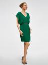 Платье шифоновое с декором на поясе oodji для женщины (зеленый), 21900307/38584/6E00N